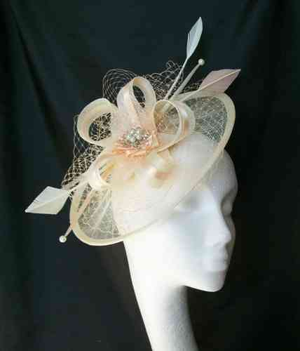 Ivory & Peach Jessica Saucer Style Feather and Sinamay Loop Fascinator Hat