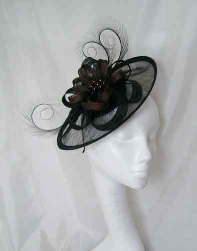 Black and Chocolate Brown Cecily Saucer Style Sinamay Loop Fascinator Hat