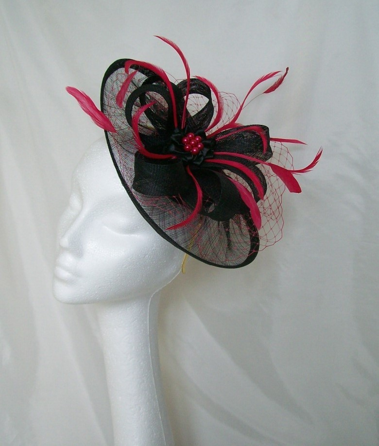 Black   Cerise Pink Veil Feather Sinamay Loop Aurora Saucer ... 580c3a855a7