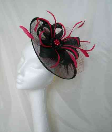 Black and Cerise Pink Aurora Saucer Veil and Feathered Fascinator Hat
