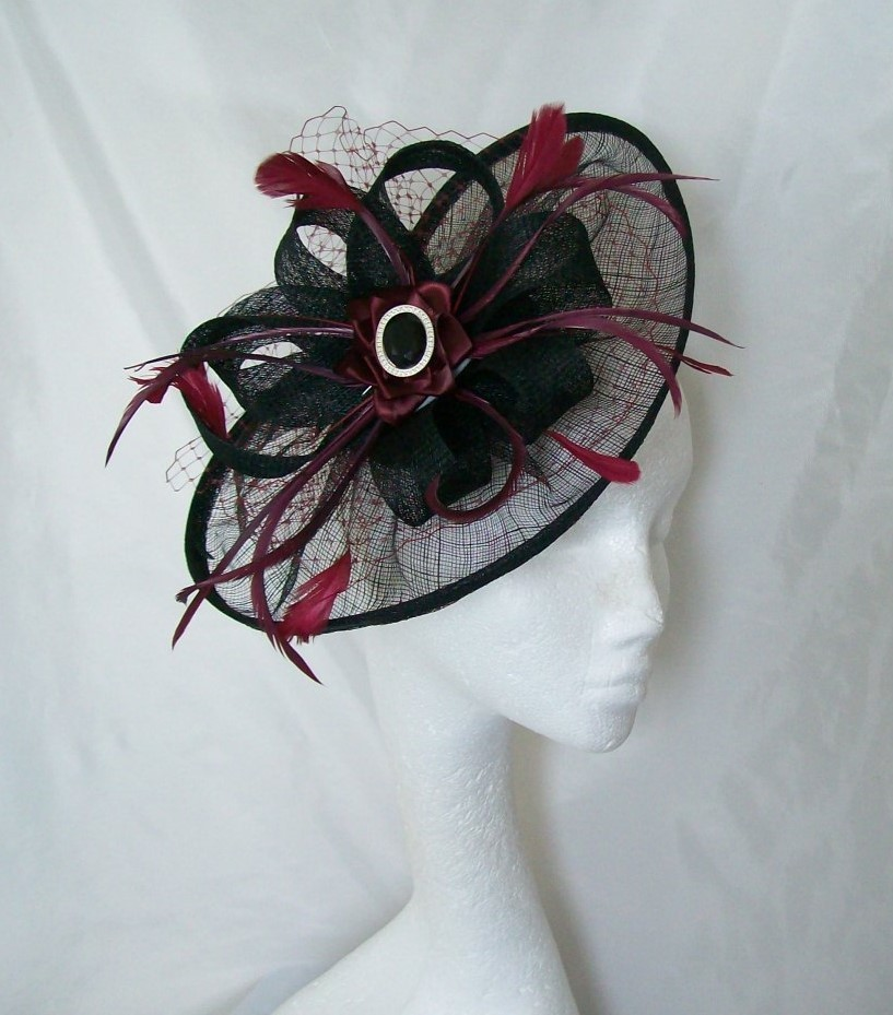 Black   Burgundy Wine Aurora Feather Sinamay Saucer Fascinator Hat ... 00559586913