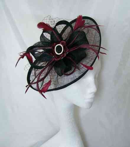 Black and Burgundy Wine Aurora Saucer Veil and Feathered Fascinator Hat