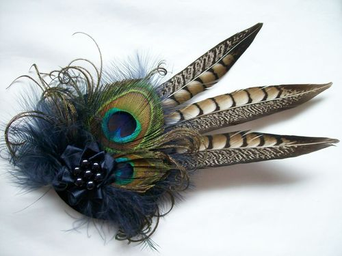 Navy Blue Rustic Style Minerva Pheasant and Peacock Feather Fascinator