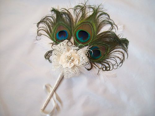Ivory Ostrich and Peacock Feather Mini Wedding Hand Fan