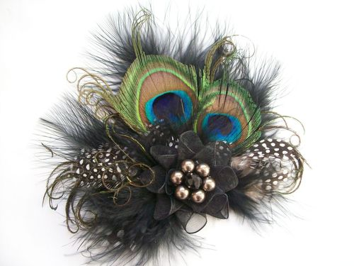 Black and Mink Vintage Style Peacock Feather Hair Clip
