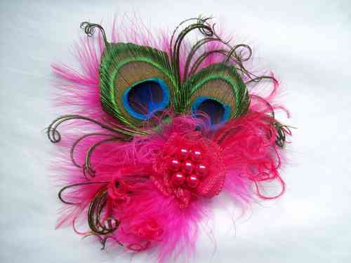 Cerise Pink Vintage Style Peacock Feather Hair Clip