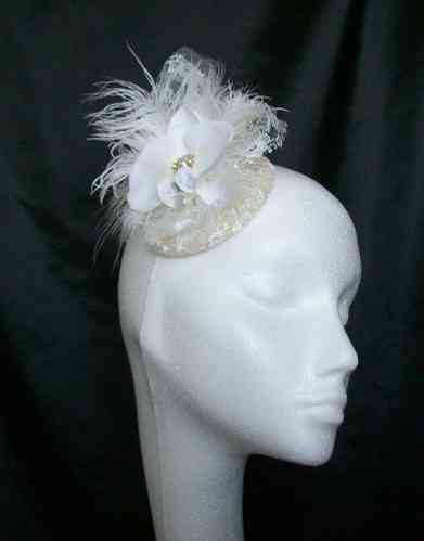 Pippa - Delicate Mini Vintage Style Percher with Lace and Feathers