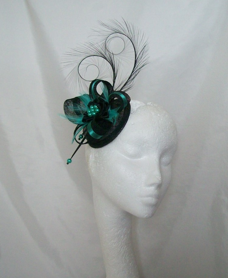Isabel Two Tone with Black Curl Feather Sinamay   Satin Ribbon Fascinator  Mini Hat 7035bd611b7