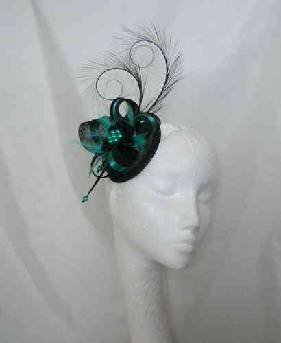 Isabel - Curl Feather Sinamay Loop and Highlight Satin Feature Headpiece