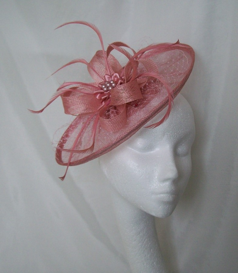 Dusky Rose Pink Aurora Sinamay Fascinator Mini Hat with Veiling ... 581d6d155ad