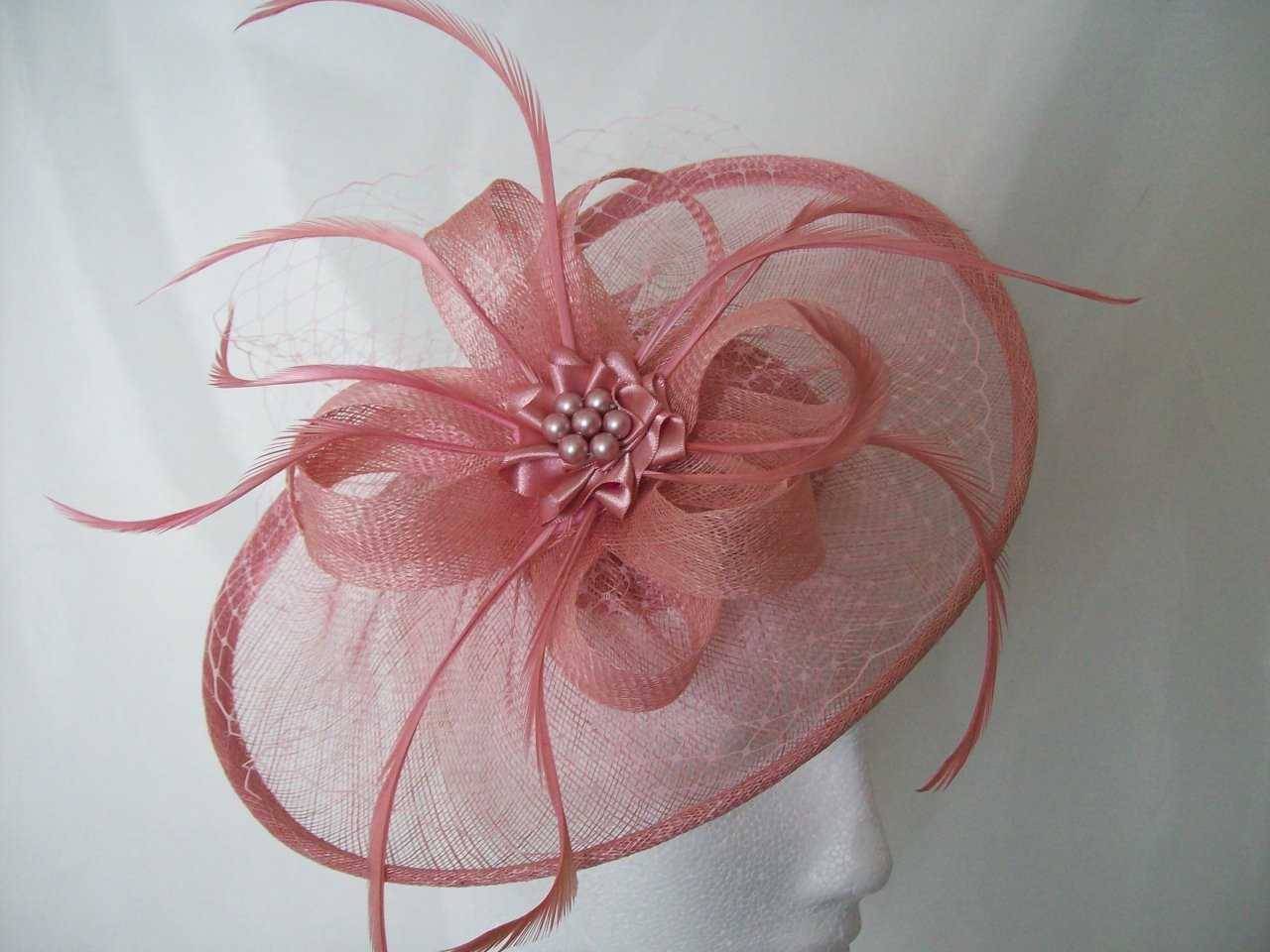 Dusky Rose Pink Aurora Sinamay Fascinator Mini Hat With