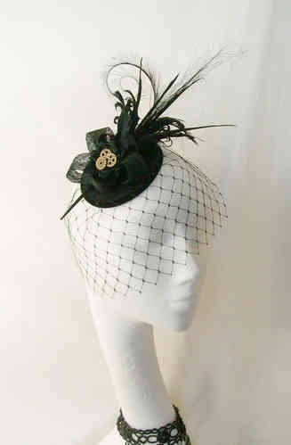 Black Rosalind Steampunk Finish Feather Plume Fascinator