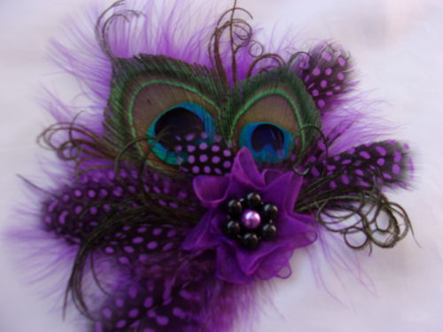 Purple & Black Little Gem Peacock Feather Hair Clip