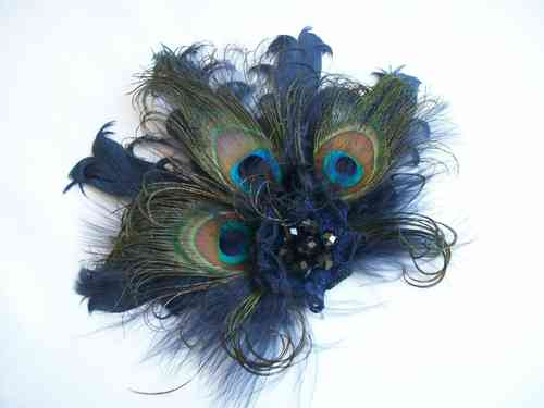 Navy Blue Daphne Vintage Style Peacock Feather Hair Clip