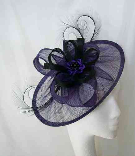 Purple and Black Cecily Saucer Style Feather and Sinamay Loop Fascinator Hat