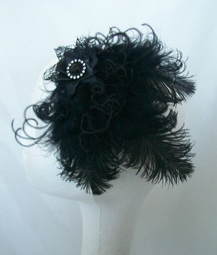 Black Vintage Style Ostrich Feather Hair Clip Fascinator