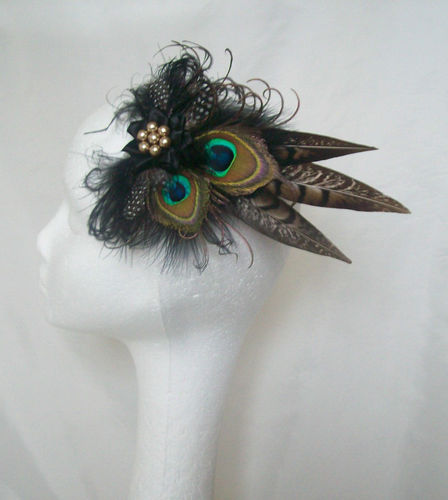 Black and Brown Mini Minerva Hair Clip Fascinator