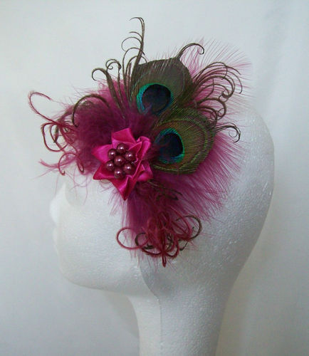 Raspberry Pink Vintage Style Peacock Feather Clip