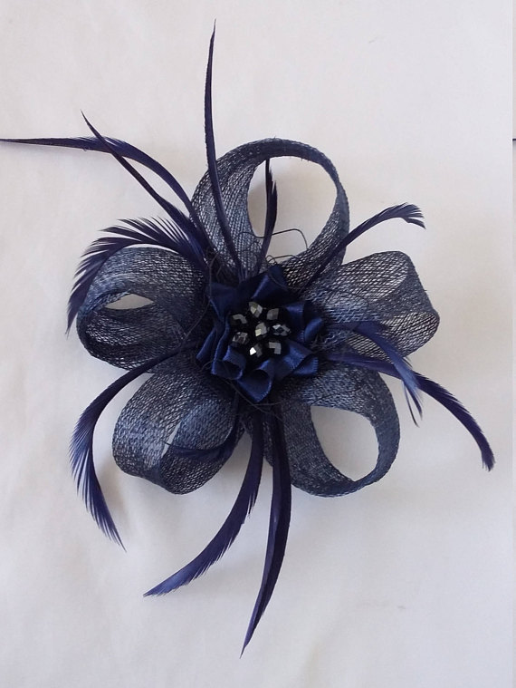 Light Navy Blue Sinamay Loop Feather   Crystal Mini Fascinator Hair ... d7407718ee0