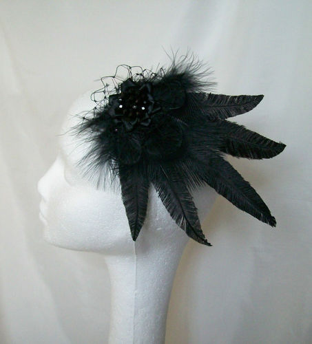 Black Mary Ostrich Feather Hair Clip Fascinator