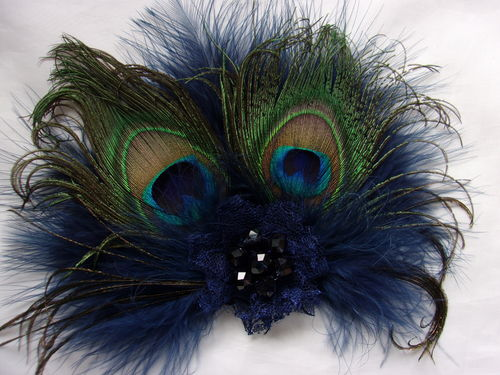 Navy Blue Victoriana Peacock Feather Clip Headpiece