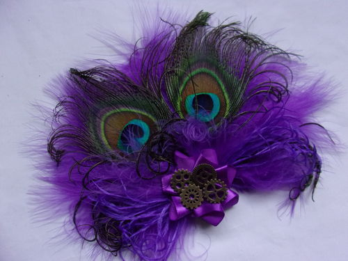 Purple Victoriana Peacock Feather Steampunk Fascinator Clip