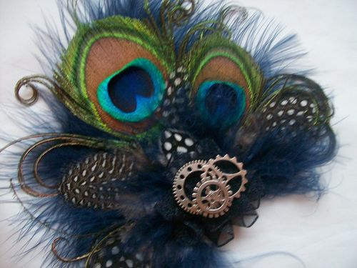 Navy and Nude Mink Steampunk Peacock Feather Hair Clip