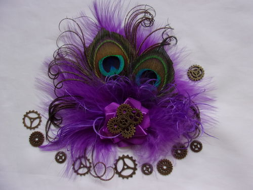 Purple Steampunk Little Gem Peacock Feather Hair Clip