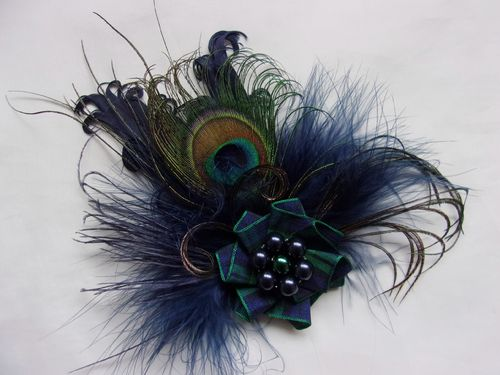 Navy Blue Rustic Tartan Corsage Brooch with Pearls
