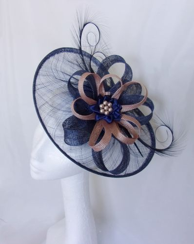 Navy and Latte Cecily Saucer Fascinator Hat