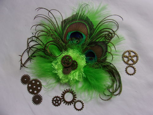 Lime Green Steampunk Peacock Feather Hair Clip
