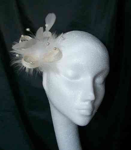 Pale Ivory Ophelia Small Feather Fascinator
