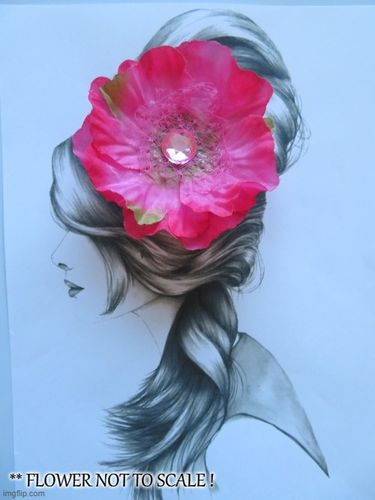 Fuchsia Pink Poppy Vintage Hair Flower