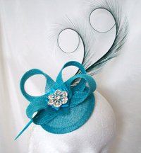 Turquoise Blue Isadora Sinamay and Curl Feather Fascinator