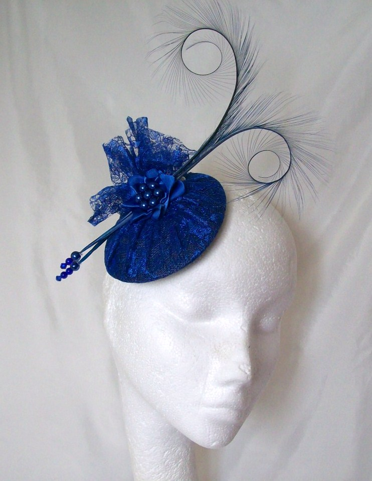 Royal Cobalt Blue Curl Feather Pearl Amp Lace Fascinator