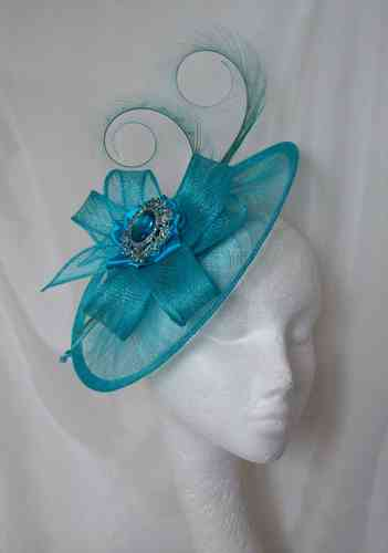Pale Turquoise Sinamay Saucer Fascinator Hat