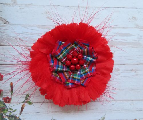 Red Tartan Flower Brooch