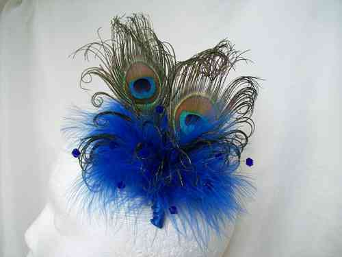 Royal Blue Victoriana Burlesque Style Peacock Feather Fascinator