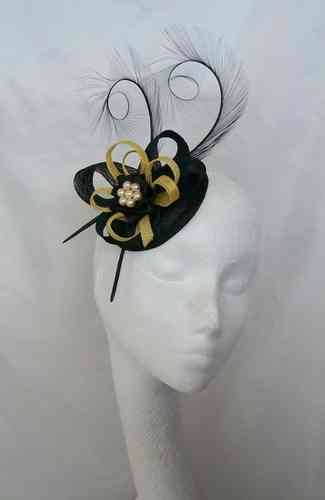 Black and Yellow Delilah Curl Feather and Sinamay Loop Fascinator