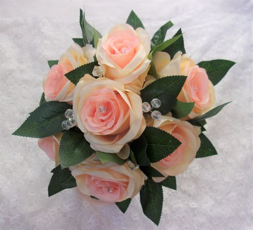 Apricot Peach Rose Posy Bouquet - Ready Made