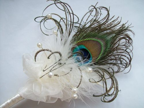 Ivory Peacock Feather Flower Girl Fairy Wand