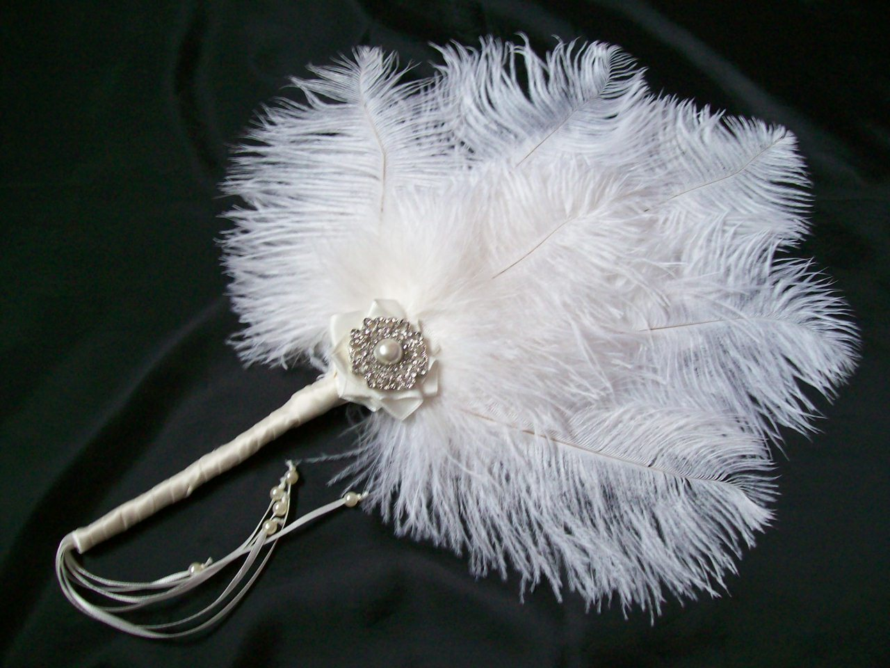 Pale Ivory Ostrich Feather Amp Pearl Narrow Vintage Bridal