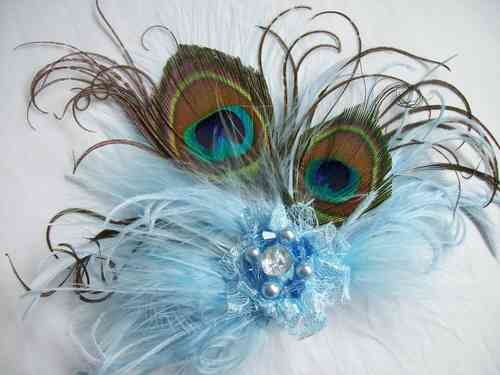 Pale Blue Little Gem Peacock Feather Hair Clip