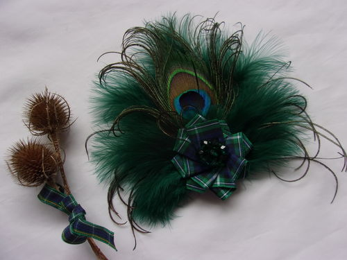 Bottle Green Peacock Tartan Brooch
