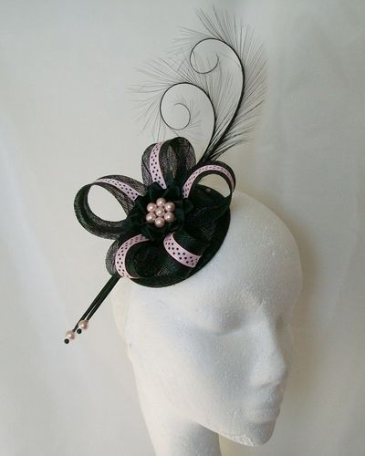 Pale Pink and Black Polka Dot Isabel Curl Feather and Sinamay Ribbon Fascinator
