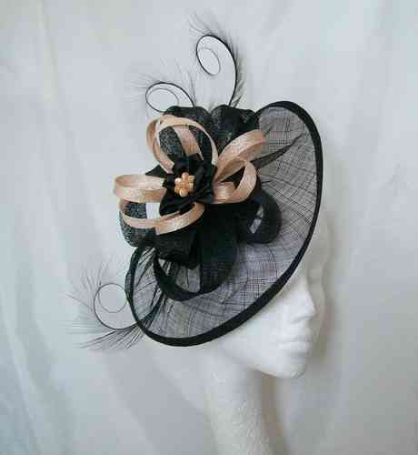 Black and Peach Cecily Saucer Style Feather and Sinamay Loop Fascinator Hat