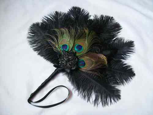Standard Size Black Ostrich Feather Wedding Hand Fan with Peacock Feathers