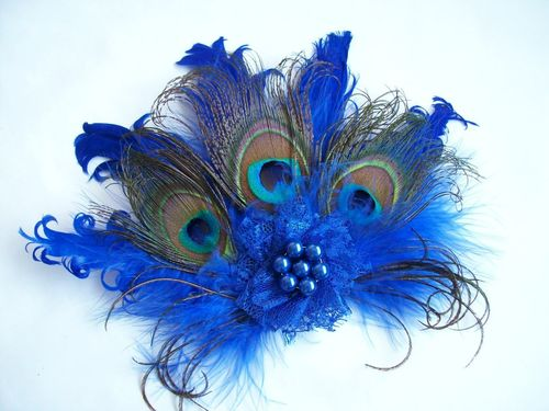 Royal Blue Daphne Vintage Peacock Feather Hair Clip