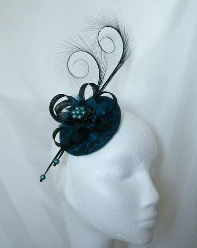 Teal Blue and Black Lace Isadora Vintage Style Curl Feather Percher Fascinator