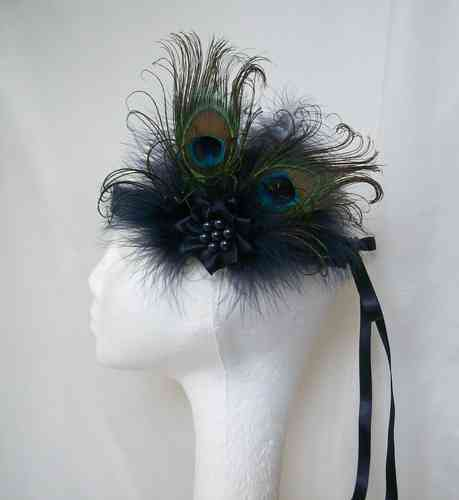 Victoriana Peacock Feather Vintage Style Flapper Band - Custom Order